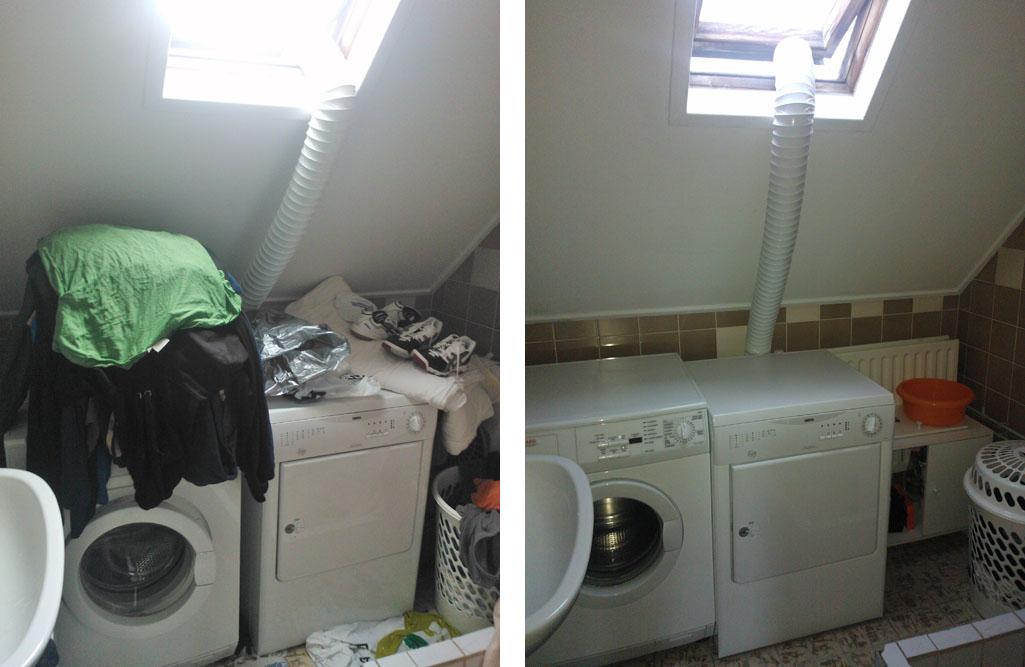 Voor en na foto s - Wasgoed in de badkamer ...